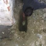 Der graves hul indenfor muren, der bare står på jorden