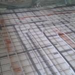 Røde markeringer er for lige at vise hvor der IKKE skal lægges gulvvarme ind under
