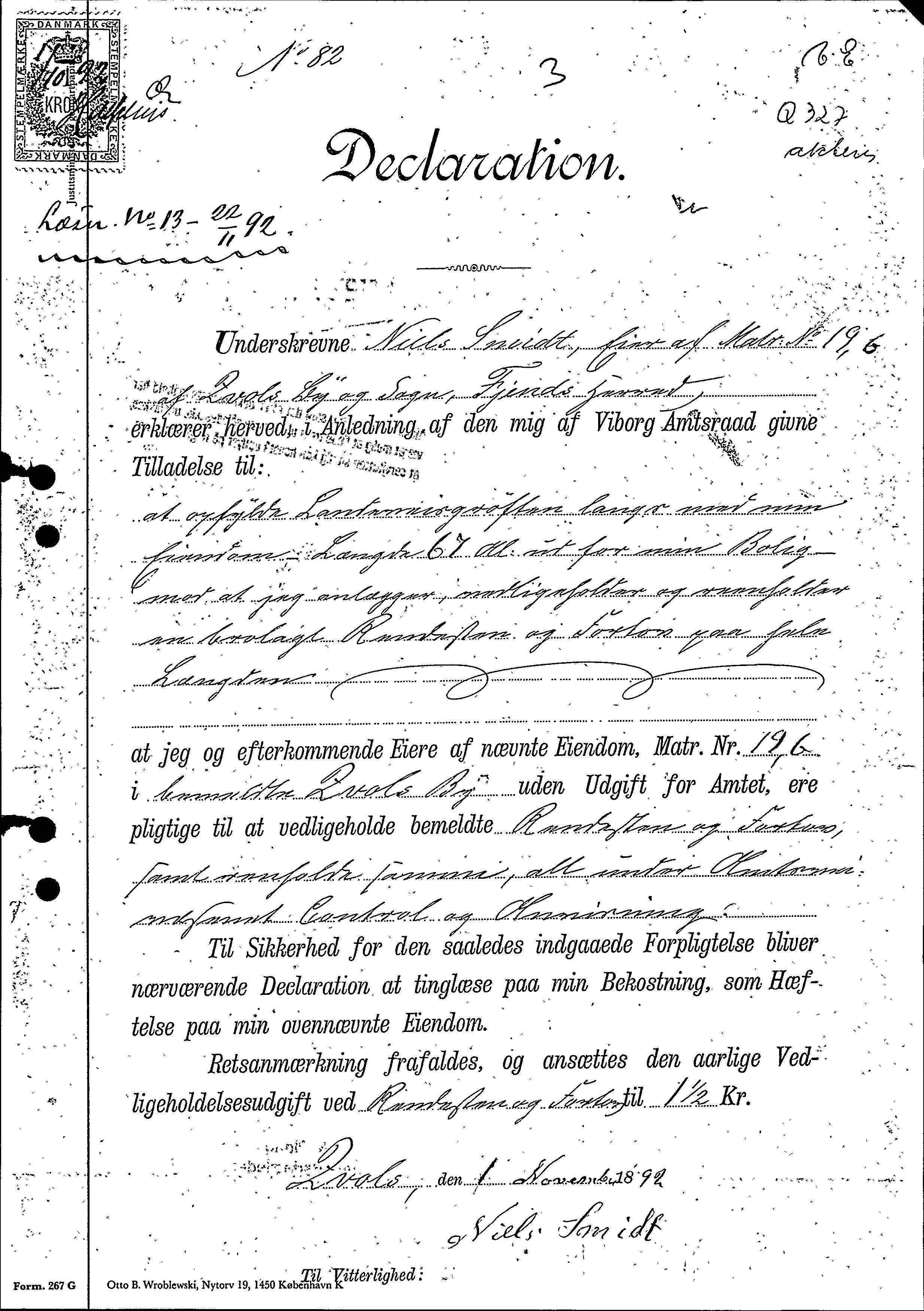 Virksundvej 1, Declaration 1. november 1892 side 1 af 2